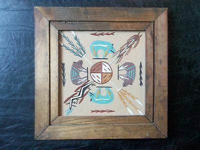 """NAVAJO NATIVE AMERICAN 11"""" FRAMED SAND PAINTING """"THE HOME OF BEAR"""" by BRYAN"""