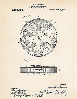 Vintage Style Film Reel 11x14 Patent Print Movie Theme Decorations Director Gift