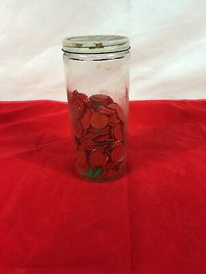 Skippy Jar Of Missouri Sales Tax Tokens Red & Green Plastic Vintage Lot