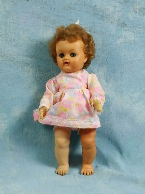 Vintage Doll Reliable soft Green Pinwheel eyes Drink and wet