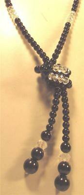 """Vintage 70's Long 45"""" Lariat Glass Pearl Crystal Bead Necklace Black Clear"""