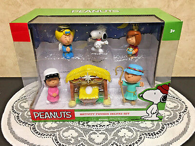 Peanuts Nativity Figures Deluxe Set~Snoopy Charlie Brown Christmas~New in Box