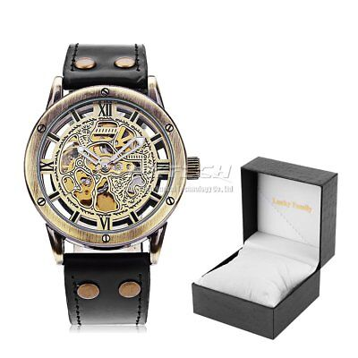 Retro Skeleton Automatic Mechanical Wristwatch Leather Band Carved Wrist Watch