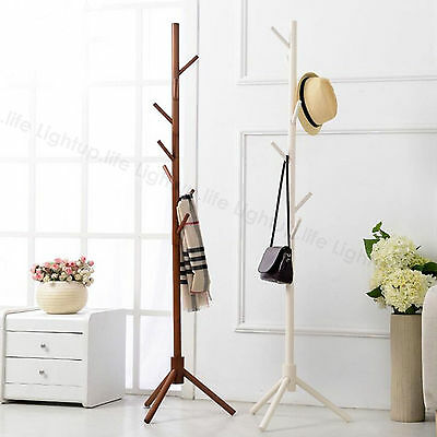 Wooden Coat Stand Rack Clothes Hanger Hat Tree Vintage Jacket Bag Umbrella Hooks