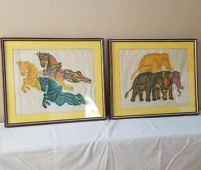 Pair Genuine Colorful Thai Temple Rubbings Leaping Horses Elephants Rice Paper