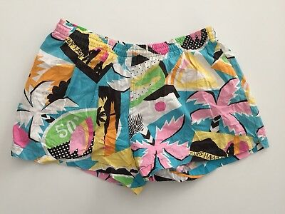 Vintage 80s Surf Shorts Swim Trunks Neon Abstract Surf Hawaii Size 33