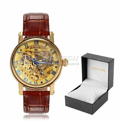 Luxury Skeleton Hollow Automatic Mechanical Wristwatch Men Leather Band Watches