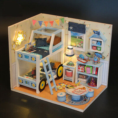DIY Wooden Dollhouse Room Miniature Kit with LED Light Furniture Kids Toy Gift