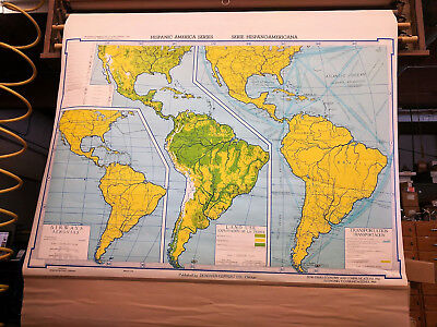 vintage pull down map, Denoyer-Geppert, Circa 1960's, Large Classroom Type,