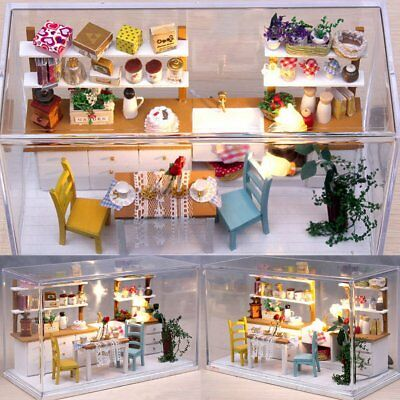 diy 3d wooden dollhouse kitchen with cover led light miniature kit kids toy gift - Dollhouse Kitchen