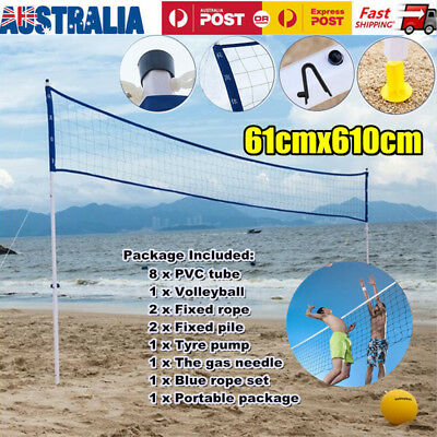 Outdoor Beach Volleyball Net System Portable Set Grassland Backyard Carry Bag