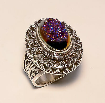 Titanium Window Druzy Vintage Style 925 Sterling Silver Ring Size 7 Us