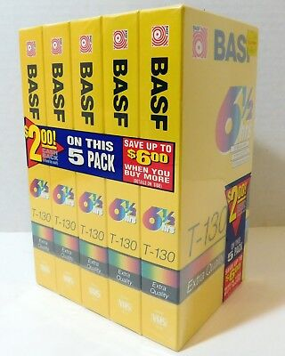 NEW 5 Pack, BASF, Blank VHS Tapes, T-130 Extra Quality, 6.5 Hours each, SEALED