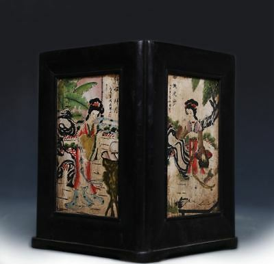 Rare Chinese Four beauties Porcelain Painting Carving Bamboo Brush Pot US355 AC