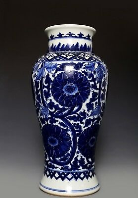 Marvelous Exquisite Old Chinese Blue And White Porcelain Vase Marked FA673 AC