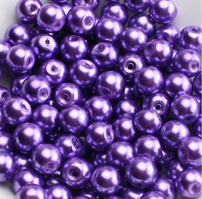 Purple Glass Pearl Round Spacer Loose Beads 200x4mm100x6mm50x8mm30x10mm b7