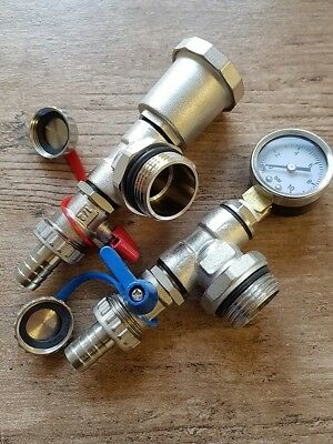 Automatic Air Vent And Pressure Gauge Set With Drain Valves For Manifold