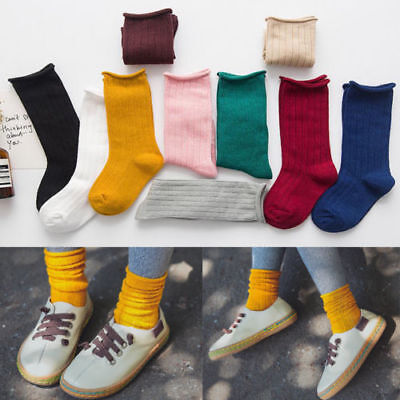New Kids Baby Girls Boys Toddler Cotton Knee Warm High Socks Solid Long Stocking