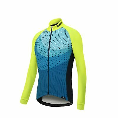 Cycling Jersey Long Sleeve Santini Ocean Winter 2017 Yellow 2XL Full Zipper