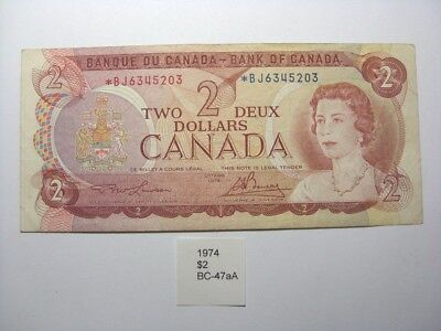 1974 Canada $2 Two Dollar Replacement Note BC-47aA *BJ Lawson/Bouey (887)