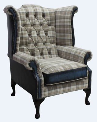 Chesterfield Queen Anne Wing Chair Lana Beige Check & Antique Blue Leather