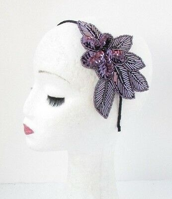 Dark Purple Black Bead Sequin Headpiece 1920s Headband Fascinator Races Vtg 4761