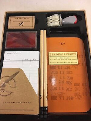 """Boxed Library Kit for Booklovers 8x10 """" stamper, ex libris tags,ink, pencils"""
