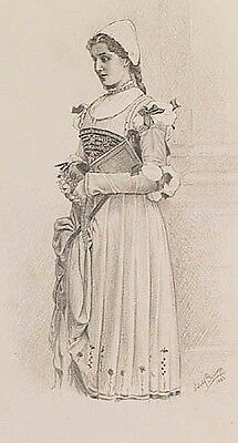 Actress Josephine Wessely graphite drawing signed 1883 Faust Gretchen A GERINGER