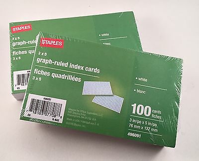 Lot Of FIVE  3x5 Graph Ruled Index Cards 500 Total Cards