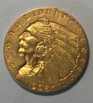 1908 $2.50 Gold Indian Head Quarter Eagle. Great example.