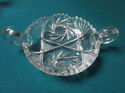 """Cut Glass Bowl With Two Handles, Starburst Design [10*7] 1 1/2 T X 9"""""""