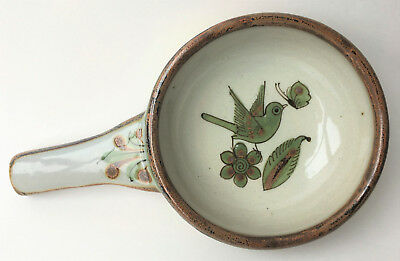 El Palomar Tonala Mexico Pottery Onion Soup Bowl w/ Handle Green Birds & Flowers