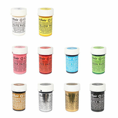 Sugarflair FULL SET 10 Edible Paint Cake Icing Colour for Sugarpaste Decorating