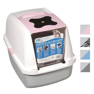 Jumbo Cat Litter Box Tray Hooded Covered Toilet Big Large with Carbon Filter