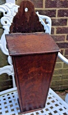 Antique Georgian Wooden Candle / Cutlery Wall Box Wood Patina