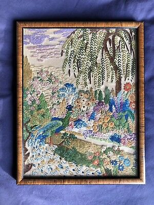 Stunning Vintage Heavily Hand Embroidered On Irish Linen Framed Picture / Panel