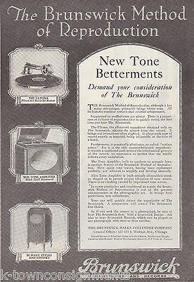 BRUNSWICK PHONOGRAPHS & RECORDS VINTAGE 1920s GRAPHIC ADVERTISING PRINT