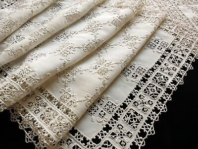 ELABORATE Antique Italian RETICELLA Handmade Lace Embroidery 8 PLACEMATS, RUNNER