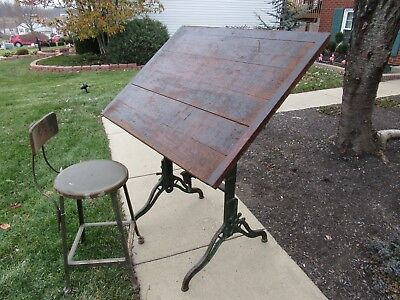 Antique Drafting Table 1894 Fritz & Goeldel Grand Rapids Mich. Vintage Drafting