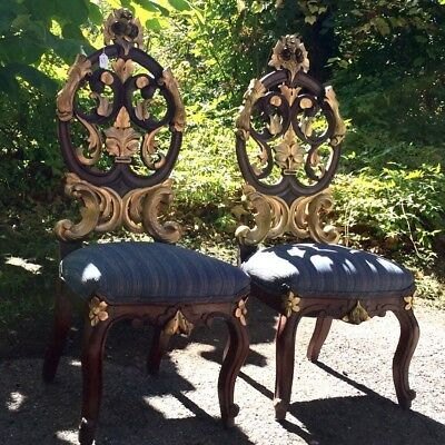 Pair of Gothic Medieval Chairs 19th Century ( 1800s )($1450.00 Until 02/27/18)
