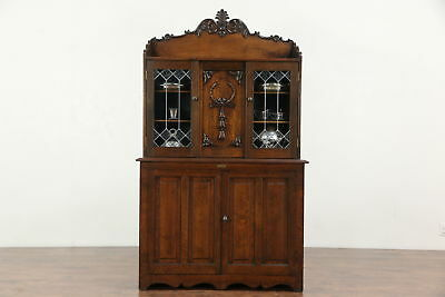 Oak 1900 Antique Mystery Linen or Collector Print Cabinet, Leaded Glass Doors