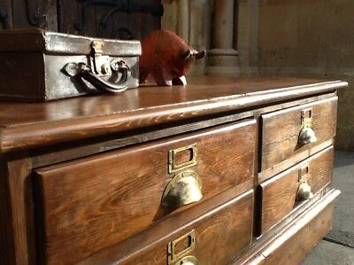 Outstanding 1920's Haberdashery Chest/Coffee Table Original Brass Handles