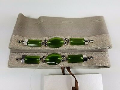 NWT 'S MAX MARA Women's Vacante Linen Embellished Cube Collection Cuffs OS