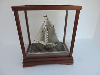 Finest Hand Crafted Japanese Sterling Silver 960 Model Ship Yacht By Seki Japan