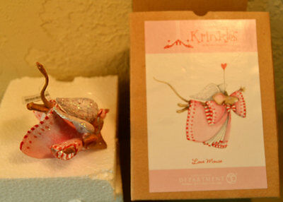 """Dept 56 Krinkles Valentine LOVE MOUSE ORNAMENT 3"""" 2003 PATIENCE BREWSTER w/ box"""