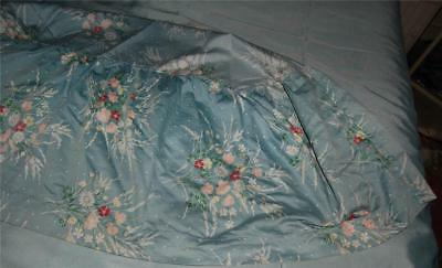 Antique Chintz Fabric Oval Cover Crib Insert Blue Floral Repair Cutter c1930
