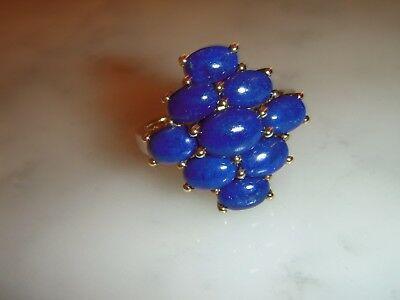 A Beautiful Vintage 9 Ct Gold Art Deco Design Lapis Lazuli Cluster Ring