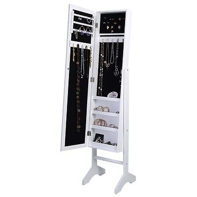 MIRRORED JEWELRY Cabinet Armoire Mirror Organizer Storage Box w