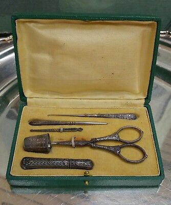 Antique Sewing Silvered Complete Set C 1900