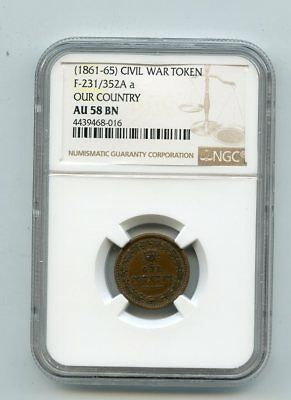 1861-65 Civil War Token Our Country F-231/352A a (AU58 BN) NGC